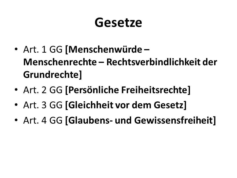 Gesetze Art. 1 GG [Menschenwürde – Menschenrechte – Rechtsverbindlichkeit der Grundrechte] Art. 2 GG [Persönliche Freiheitsrechte]